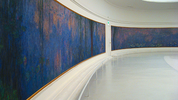Monet's monumental-Scale water lillies at L'Orangerie, Paris.